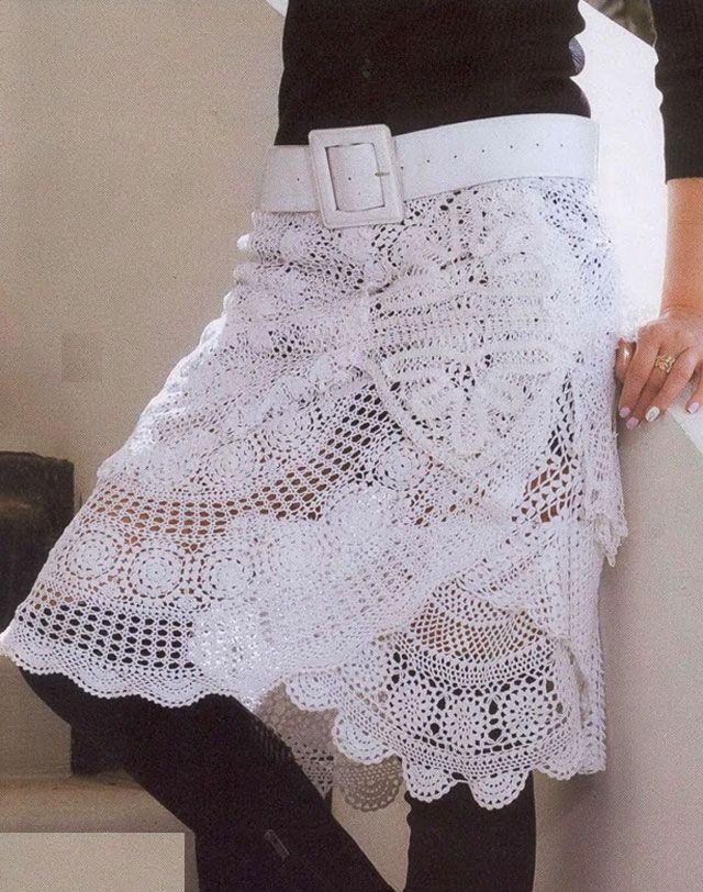 Удлинённая ажурная белая юбка