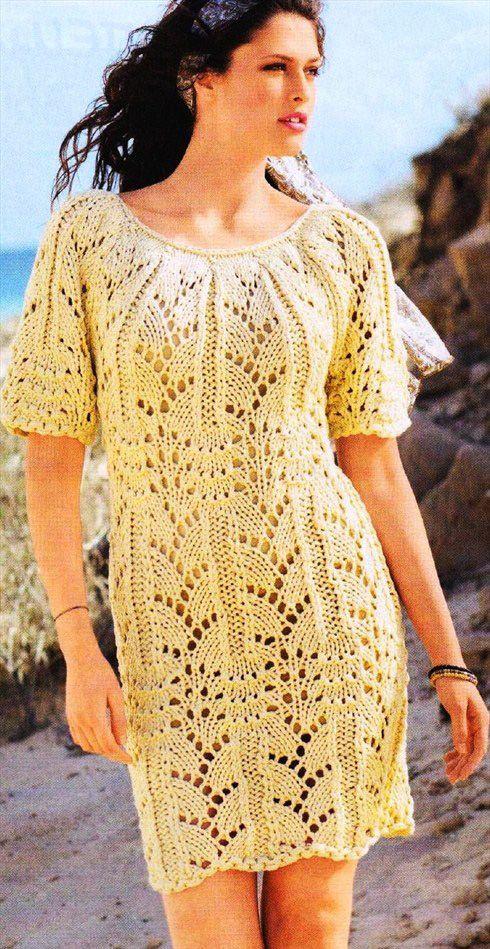 Желтое ажурное платье 2