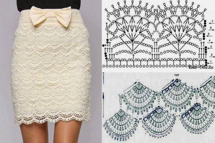 Белая ажурная юбка со схемой