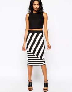 юбка в полоску с черным топом