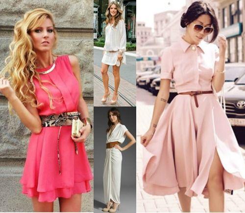 Разные пояса на платье