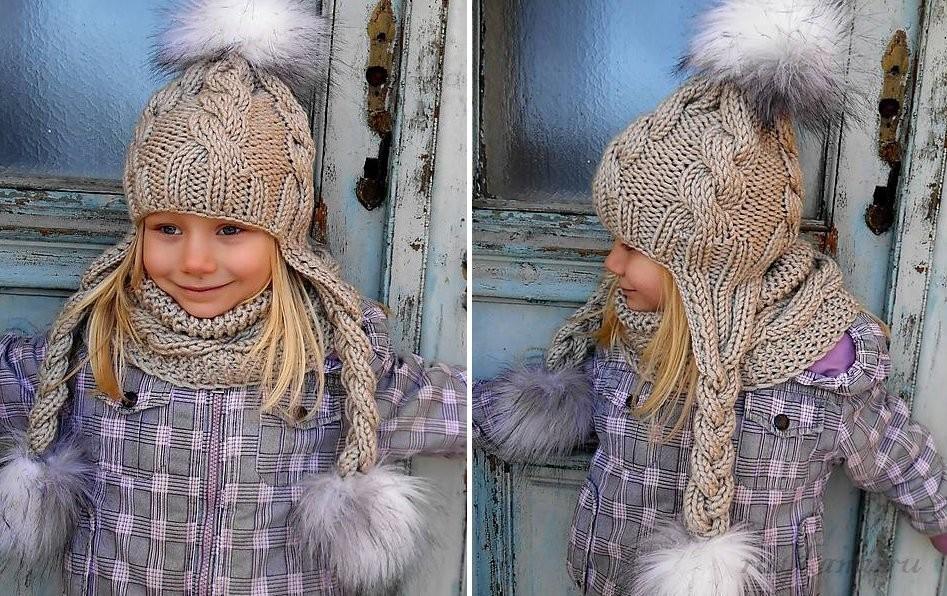 Детская шапка с ушками модель 2