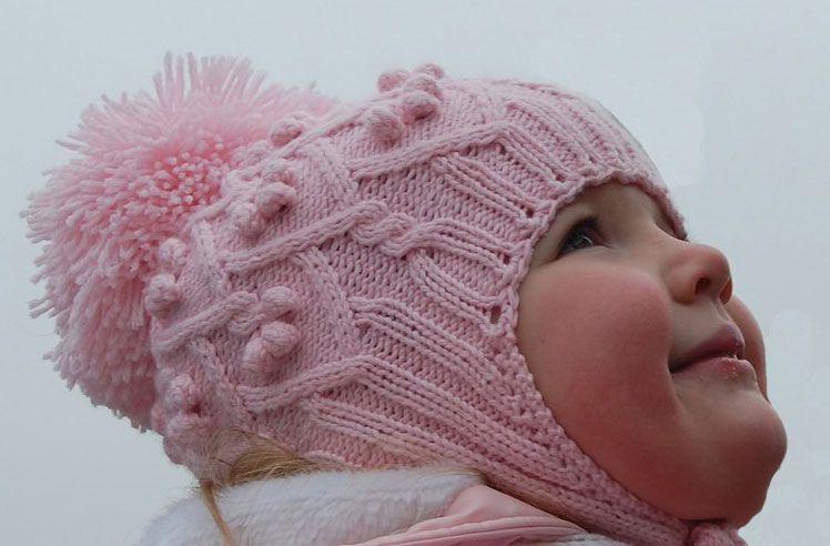 Розовая шапочка для девочки с ушками