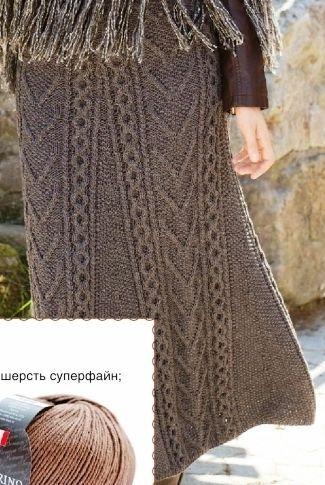 Длинная юбка коричневая с рисунком