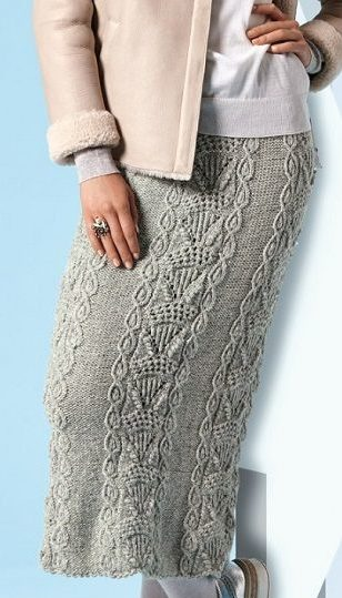 ДЛинная юбка серая орнаментом