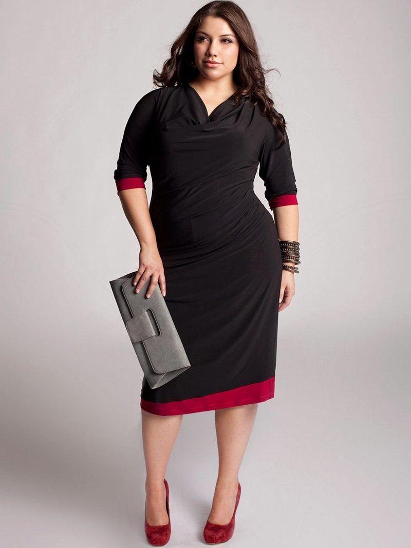 Черное платье с красной отделкой для полных дам