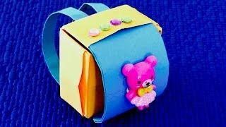 Желто-голубой портфель рюкзак для кукол
