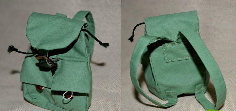 Кукольный рюкзак зеленый