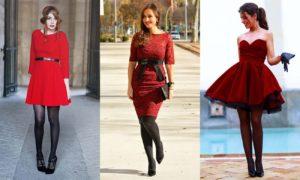 варианты колготок для красного платья