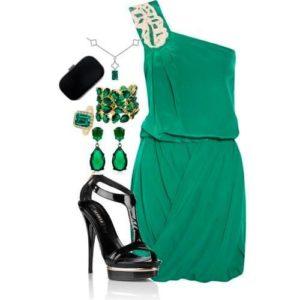 цветные драгоценности к зеленому платью