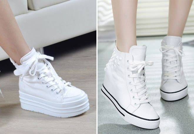 Белые кроссовки на ровной платформе