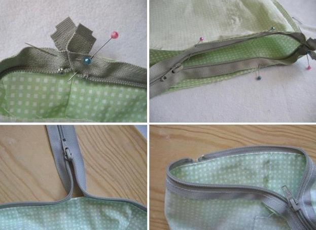 Молнию вшить в сумку без подкладки