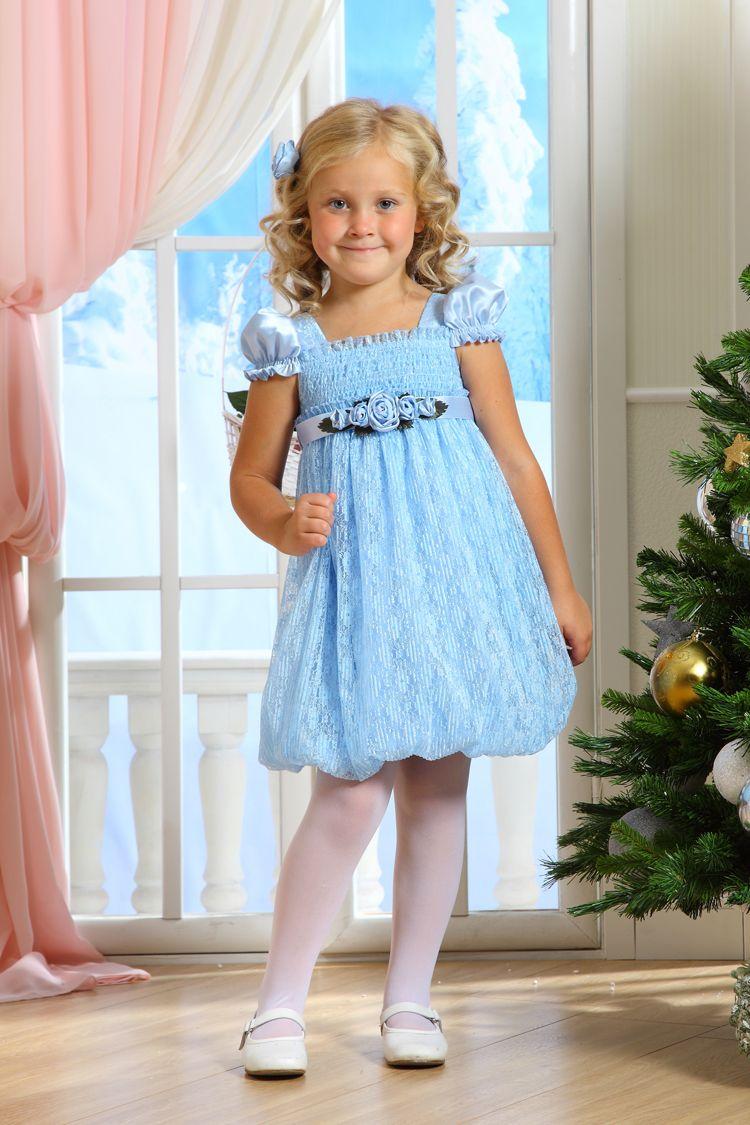 Голубое новогоднее платье для девочки