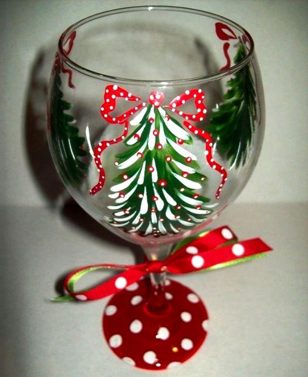 Украшение бокала новогодний стол