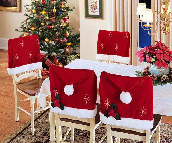 Оформление стульев и новогоднего стола