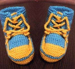 Желто-голубые пинетки кроссовки