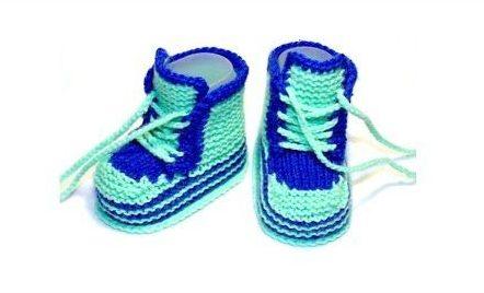 Сине-салатные пинетки кроссовки для малышей
