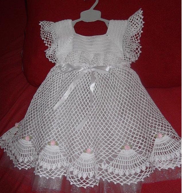 Платье белое детское сеткой фото 2