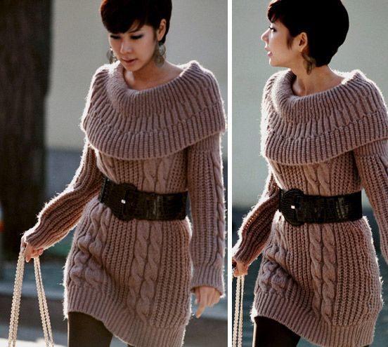 Светло-кофейное платье-свитер