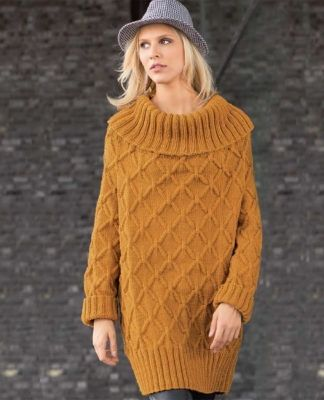 Горчичное платье-свитер