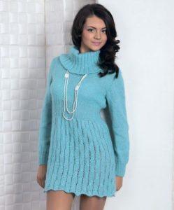 Голубое платье-свитер 1