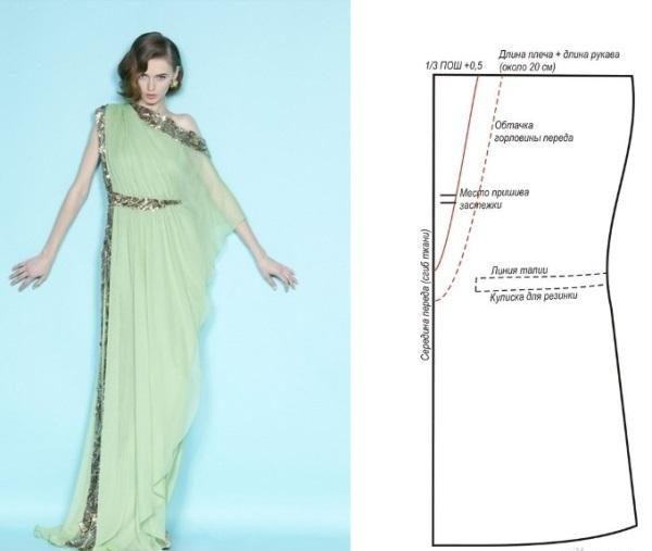 Платье в греческом стиле зеленого цвета