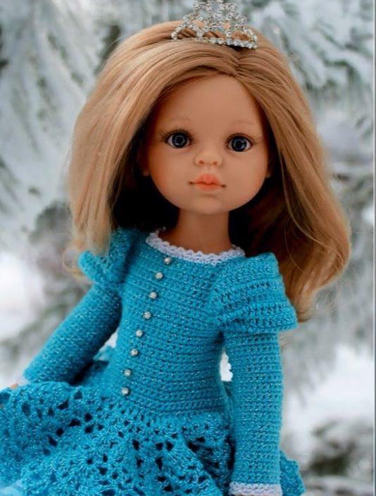 Голубое платье Барби с пуговицами