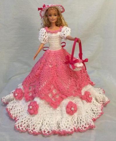 Бело-розовое платье Барби 1