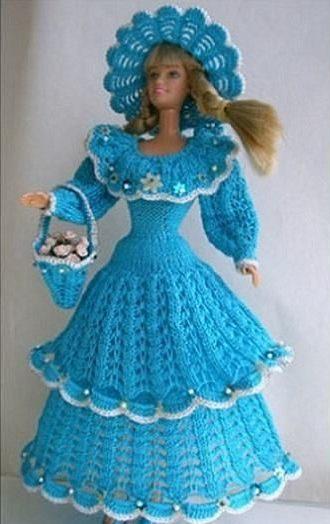 Голубое ажурное платье Барби