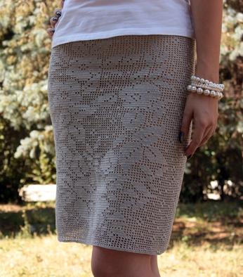 Прямая юбка крючком модель 1