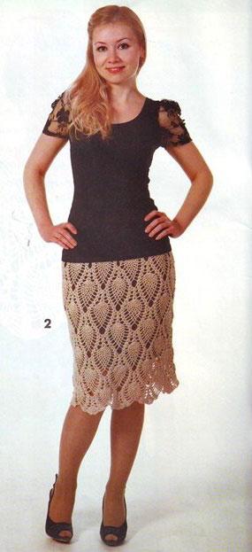 Прямая юбка крючком модель 2