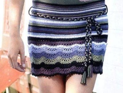 Черно-сиреневая прямая юбка