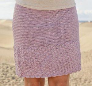 Розовая прямая юбка крючком