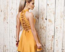 Расширить платье желтое