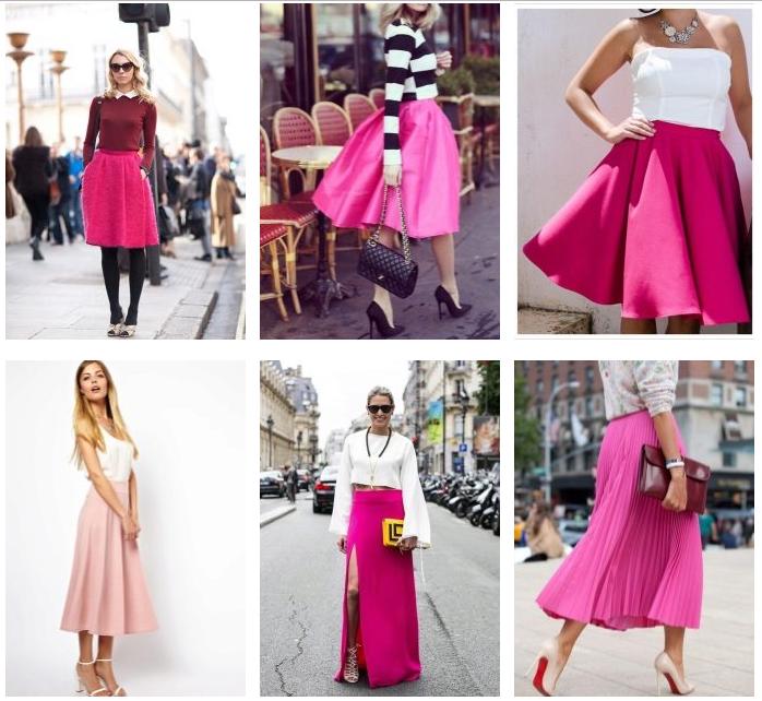 Розовые юбки разных фасонов с аксессуарами