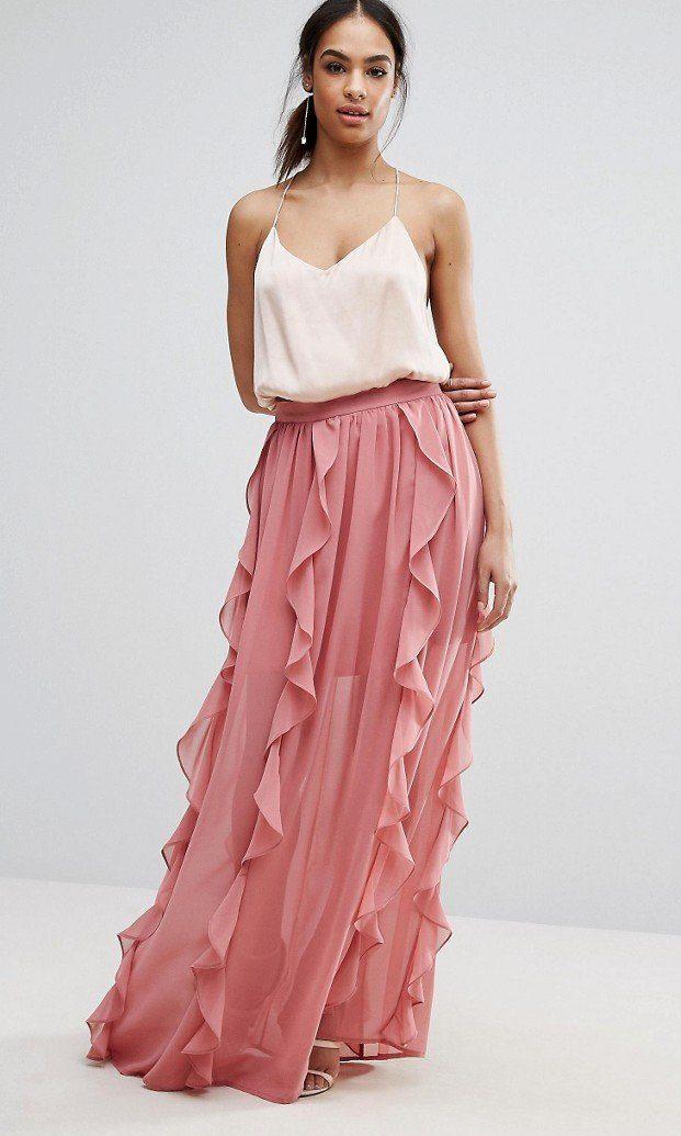Розовая длинная юбка персиковая