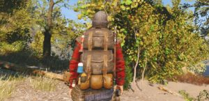 с рюкзаком в лесу