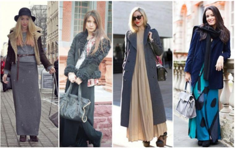 С чем носить длинное платье зимой