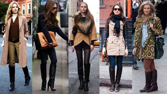 С чем носить сапоги с широким голенищем зимой