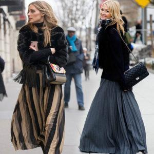 С чем носить юбку в пол зимой