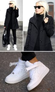 С чем сочетать белые высокие кроссовки