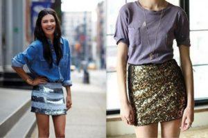 короткая  юбка с пайетками