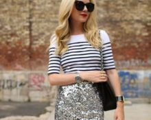 юбка с пайетками с блукзой