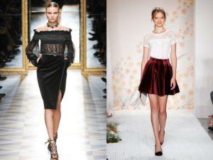 короткая бархатная юбка