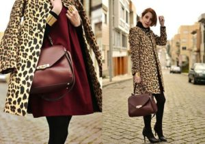 бордовая сумка с леопардовым пальто
