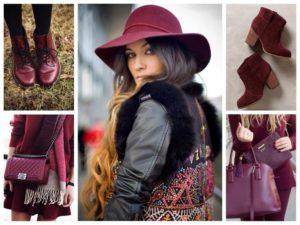 бордовая сумка со шляпой