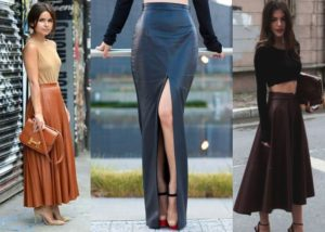 С чем носить длинную кожаную юбку