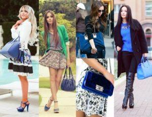 синяя сумка с платьем