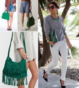 брюки с зеленой сумкой