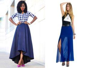 Синего цвета юбки-солнце